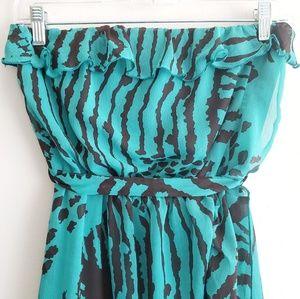 Modern Love Dresses - 3 For $15 Turquoise Chiffon Strapless Dress